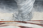 """Brianna Hurley The Tornado spins across the plains of The Mancha acrylic and pencil on paper 38 x 57.5 cm 2018 • <a style=""""font-size:0.8em;"""" href=""""http://www.flickr.com/photos/41385418@N07/44919121372/"""" target=""""_blank"""">View on Flickr</a>"""
