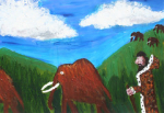 """Jack Foskin - Four eyed man herding mammoths - Acrylic on canvas • <a style=""""font-size:0.8em;"""" href=""""http://www.flickr.com/photos/41385418@N07/7195383398/"""" target=""""_blank"""">View on Flickr</a>"""